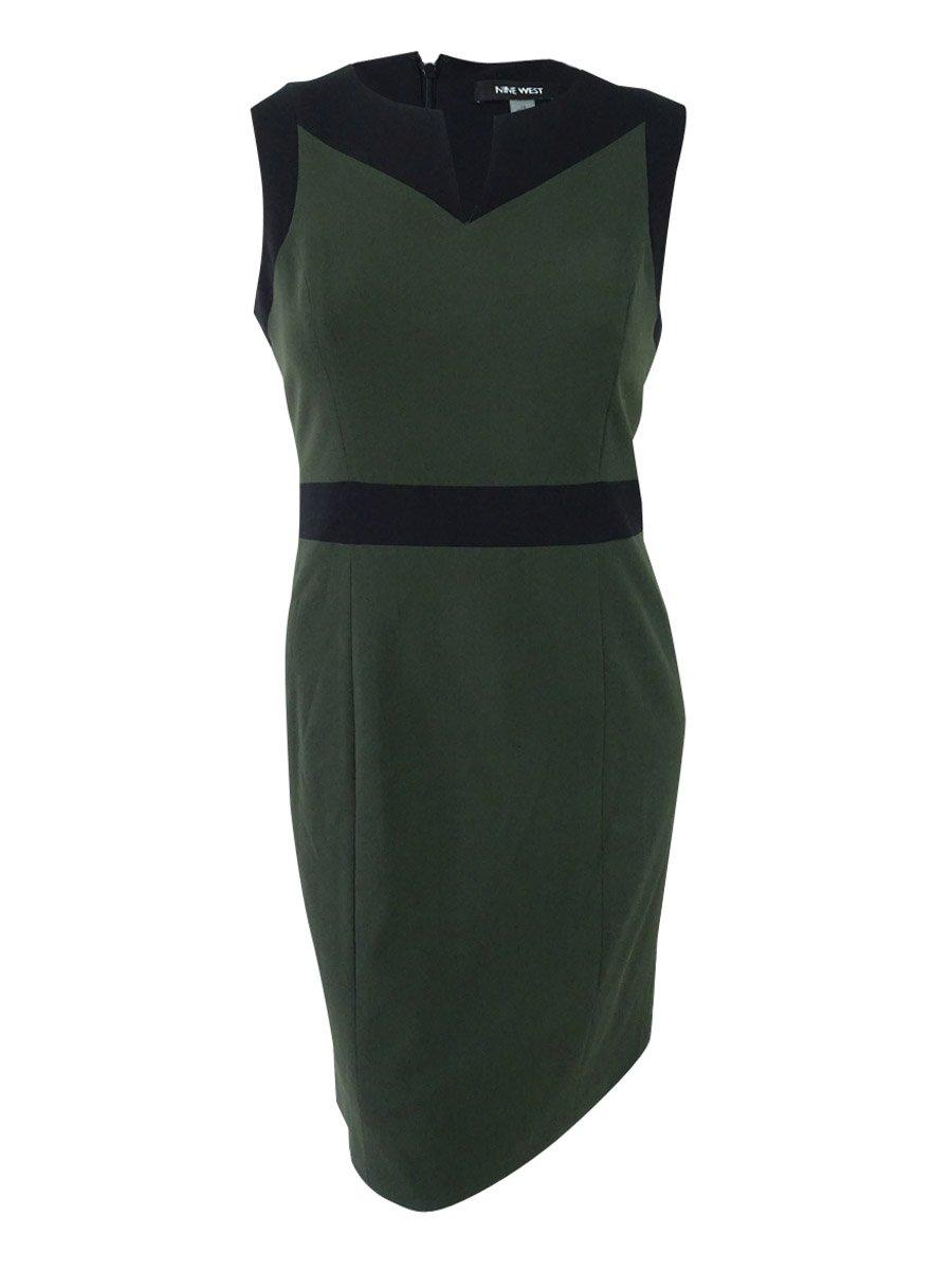 Nine West Women's Contrast Trim Split Neck Sheath Dress Green 14