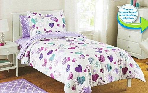 - Mainstays Kids 5-Piece Bed in a Bag Coordinating Bedding Set, Twin (Purple Hearts)