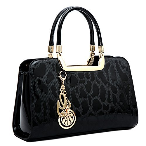 (Women's Patent Leather Handbags Designer Totes Purses Satchels Handbag Ladies Shoulder Bag Embossed Top Handle Bags (Black))