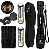 Usstore Flashlight 5000LM XM-L T6 LED 18650 Tactical Torch Lamps + 18650 Battery/Charger for household outdoor activities hiking night fishing camping