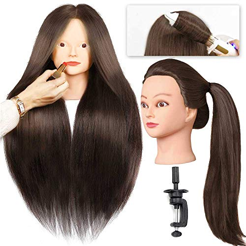 "SILKY 28"" Mannequin Head with 40% Real Human Hair Make Up Practice Brown #4 Doll Head for hair styling Cosmetology Long Hair FREE Table Clamp Stand"