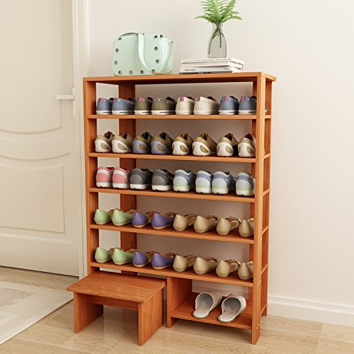 Jerry & Maggie - 6 Tier Wood MDF Solid Shelf Shoe Rack with One Footstool/Shoe Storage Shelves Free Standing Flat Shoe Racks Classic Style -100% Multi Function Shelf Organizer - Natural Wood Tone by Jerry & Maggie (Image #2)