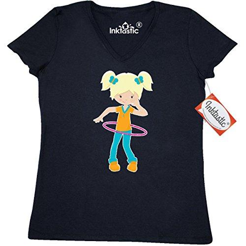 inktastic-girl-hula-hooping-womens-v-neck-t-shirts-x-large-black