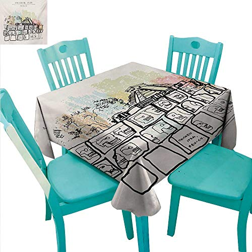 Mexican Elegant Waterproof Spillproof Polyester Fabric Table Cover Ancient Temples in Chichen Itza Tzompantli Kukulkan Crypt Tomb Pyramid El Castillo for Kitchen Dinning Tabletop Decoration 70