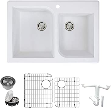 Transolid K Rtdo3322 01 Radius Granite 1 Hole Drop In Double Offset Bowl Kitchen Sink Kit 33 In L X 22 In W X 9 In H White Amazon Com