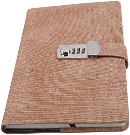 Kissherely Tragbares Passwort Notizbuch Papier Abschließbares Buchtagebuch Täglicher Reisender Wochenplaner Schulbriefpapier Geschenke (Braun)