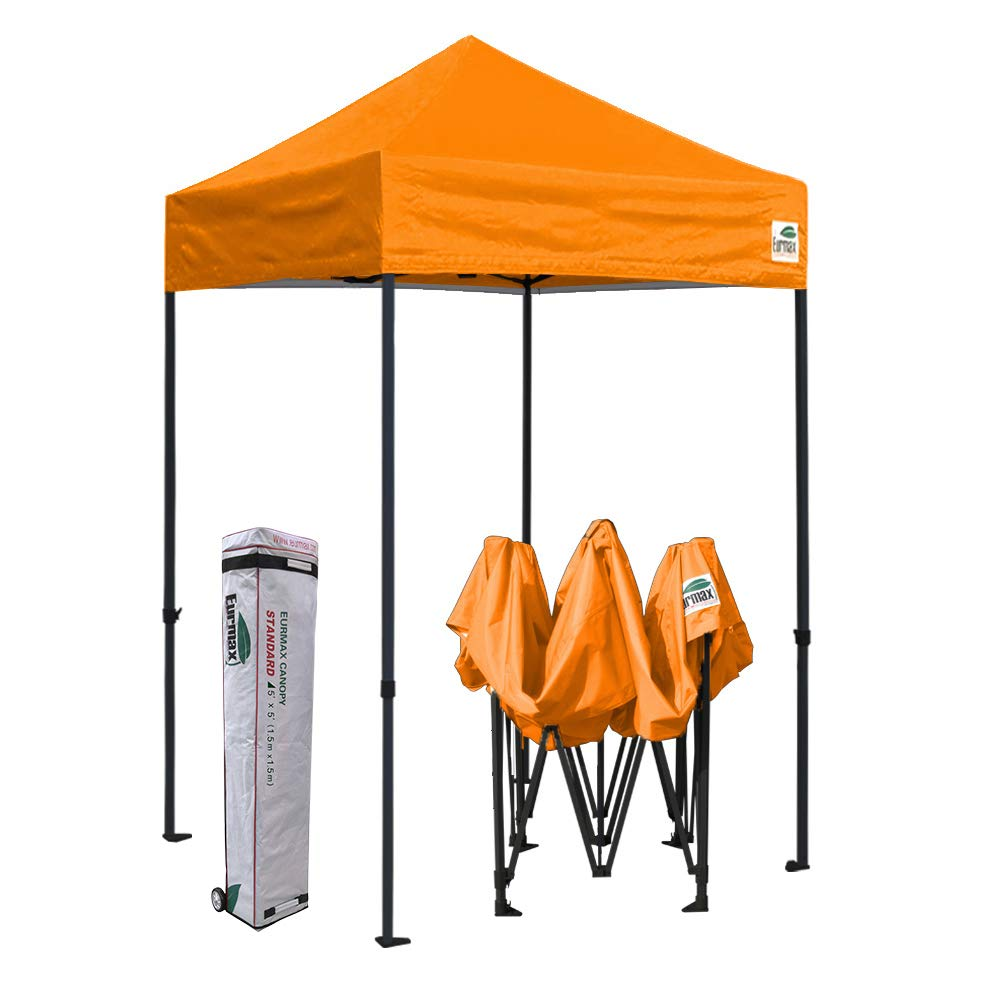 Eurmax 5x5 Ez Pop up Canopy Outdoor Heavy Duty Instant Tent Pop-up Canopies Sun Shelter with Deluxe Wheeled Carry Bag (Orange)