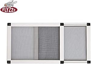 FLYZZZ New Adjustable Window Screen, One Way Adjustable, Horizontal 19.86 Inches (50cm) High, 28-52 Inches (70-132cm) Wide Need Assembled