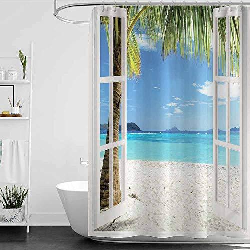coolteey Shower Curtains Vintage Ocean Decor,Tropical Palm Trees on an Island Beach Through White Wooden Windows,Blue Green White Multicolored W72 x L96,Shower Curtain for Bathroom