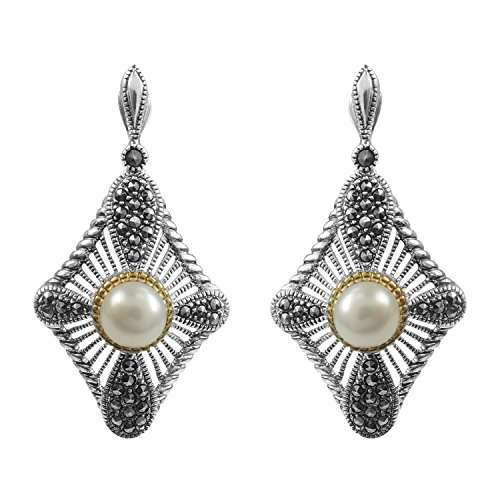 Freshwater Marcasite Earrings - Aura 925 Sterling Silver Earring Fresh Water Pearl, Marcasite With Gold Plated