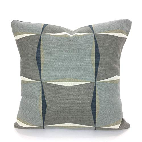Gray Tan Decorative Pillow Covers Cushion Scott Living Designer Fabric Kalei Dark Blueish Charcoal Gray Tan Taupe Natural Various Sizes