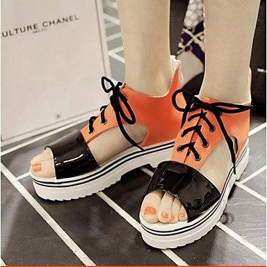 Frauen 039 s Sandalen Komfort PU Sommer Casual Comfort Orange Schwarz Rosa Weiß FlatOrange BlackUS8.5 EU39 UK6.5 CN 40