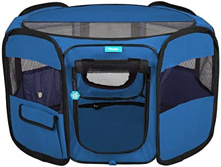 Pawdle Deluxe Premium Foldable Portable Traveling Exercise Pet Playpen Kennel Cats, Dogs, Kittens and All Pets – Travel Carrying Case – in Ground Stakes – Removable Shaded Cover and Bottom by