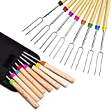 Roasting Sticks, Marshmallow Roasting 32 Inch Telescopic BBQ Roasting Forks, Stainless Steel with Coloured Wooden Handle, Hot Dog Forks Barbecue Accessories With Carrying Bag Best for Camping. 8 Pack