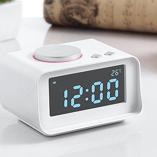 AOZBZ Reloj Despertador Inteligente Radio FM multifunción Reloj Despertador Doble Termómetro Interior Puerto USB Doble Cargador Función AUX Conecte a MP3 ...