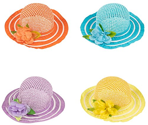 Juvale Tea Party Hat - 4-Pack Straw Hats for Garden Party, Costume Headwear Accessories, Age -