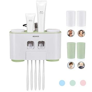 Dispensador automático de pasta de dientes y cepillo de dientes con montaje en la pared, ...