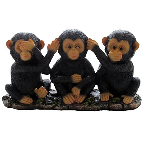 No Evil Monkeys Figurine for African Jungle Safari Decor Sculptures or Chimps Statues and Decorative Animal Lover Gifts by Home-n-Gifts