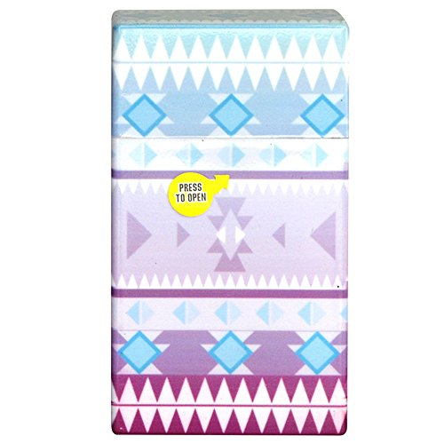 (Extra Hard Box for Full Pack of Cigarettes, Cigarette Case Box for 100mm Cigarettes - Aztec, Purple & Blue)