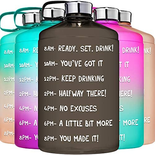 HydroMATE Half Gallon 64 oz Motivational Water Bottle with Time Marker Large ...