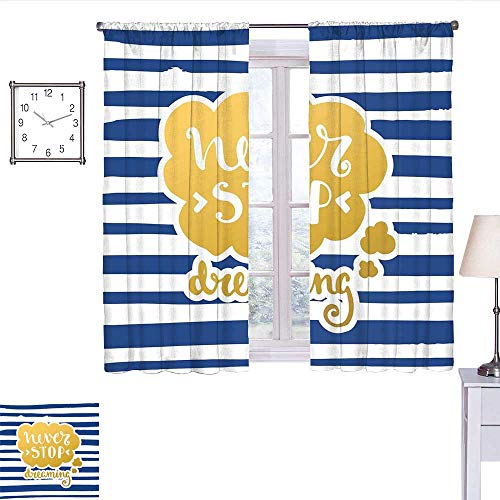 alisoso Quote Blackout Curtain Marine Themed Inspirational Phrase for Life Navy Vintage Style and Artisan Design Curtain Valance Gold Blue W55 x -