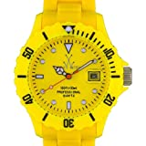 ToyWatch Fluo Time Only Watch FL03YL All Yellow Unisex Plasteramic Plastic Ceramic Date Display Rotating Bezel, Watch Central