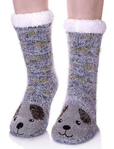 LANLEO Womens Cute Cartoon Animal Fuzzy Slipper Socks Winter Soft Warm Fleece Lining Knit Home Socks With Grippers Dog