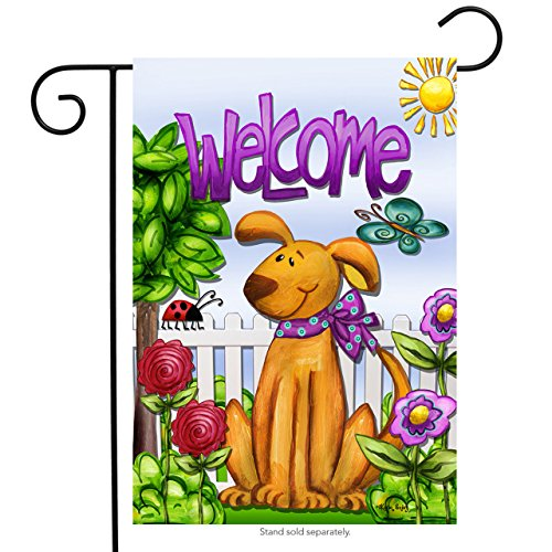Briarwood Lane Welcome Dog Spring Garden Flag Cute Pets Flowers Butterfly Puppy 12.5