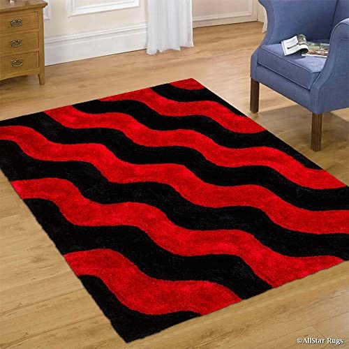 Allstar 8×11 Wine Red Modern and Contemporary Hand Carved Rectangular Shag Accent Rug with Black Abstract Wavy Parallel Stripe Design 7 5 x 10 5