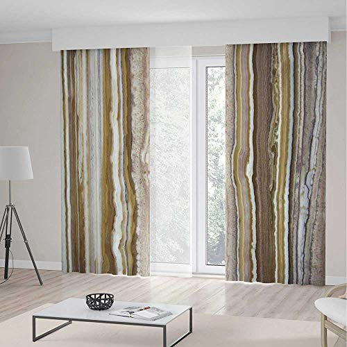 Apartment Decor Blackout Curtains,Onyx Marble Rock Themed Vertical Lines and Blurry Stripes in Earth Color,Living Room Bedroom Window Drapes 2 Panel Set,104 W 63 L,Mustard Brown