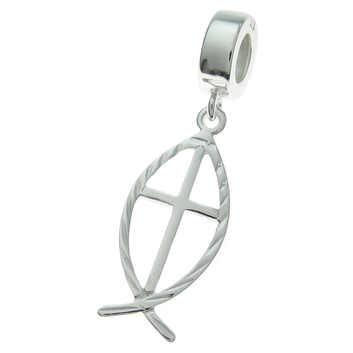 925 Sterling Silver Cross Fish Faith Dangle For European Charm Bracelet