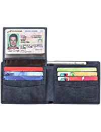 Mens Genuine Leather Bifold Wallet with 2 ID Window and...