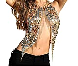 Women's Gold Sexy Halter Backless Tank Top Bra Body Chain Necklace Tassels for Party