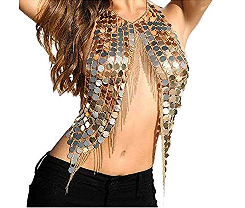 Necklace Halter Chain - Body Chain Necklace, Taotopia Women's Gold Sexy Halter Backless Tank Top Bra Body Chain Necklace Tassels for Party