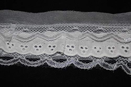 - $1 Yard White Cotton Eyelet Poly Layered Layers Sewing mesh Trim lace 2.75'' b2