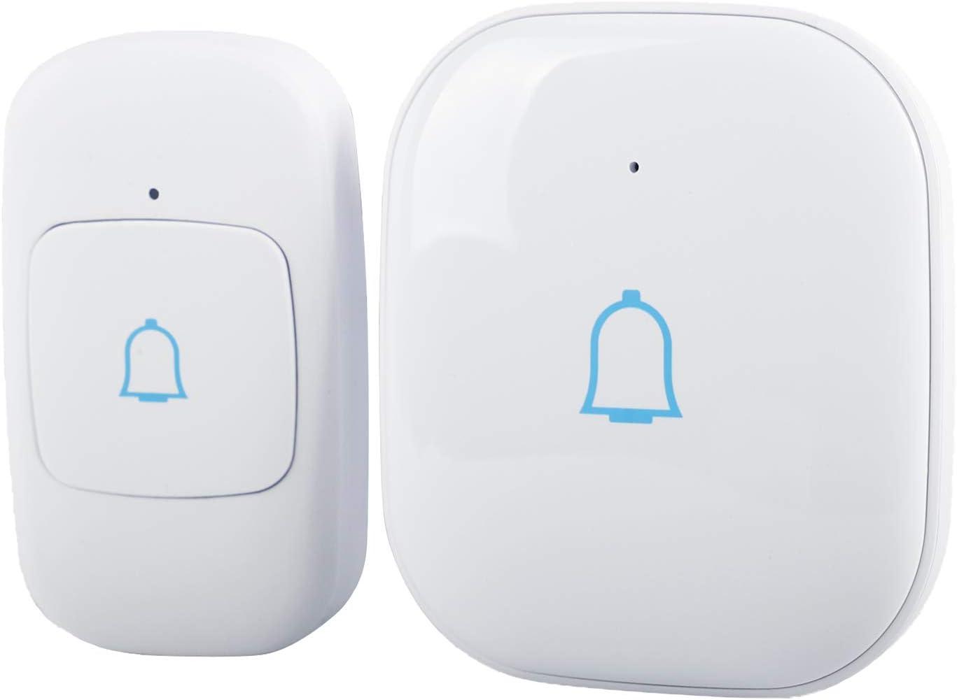 Wireless Doorbell – Waterproof Door Bells & Chimes – Over 1000-Foot Range, 52 Door Bell Chime, 4 Volume Levels with LED Flash – Wireless Doorbells for Home – Waterproof Model C (MBlack) (White)