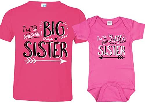 Sibling Shirts for Sister and Brother, Hipster Design, Includes Big Sister To Be