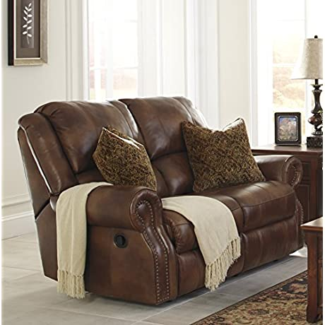 Walworth Traditional Leather Auburn Color Reclining Loveseat