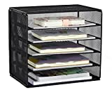 PAG Office Supplies Desk Organizer Assembly Document File Holder Mail Sorter Magazine Rack, Black