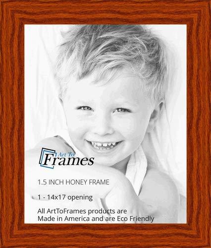 ArtToFrames 14x17 inch Honey Stain on Oak Wood Picture Frame, 2WOM0066-80206-YHNY-14x17