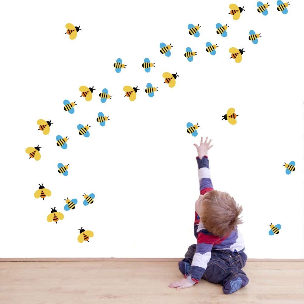 TOARTi Lovely Bee Wall Sticker, Adorable Cartoon Flying Bee Decal for Classroom Nursery Kids Bedroom Decoration