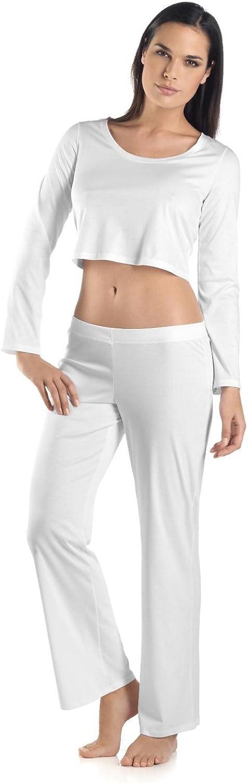 White Hanro Womens Tonight Long Sleeve Crop Shirt 77752