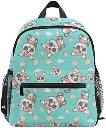 ハートパンダの花幼児バックパックブックバッグミニショルダーバッグ1-6年旅行男の子女の子子供用チェストストラップホイッスル