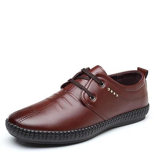 HILOTU Mocasines Ocasionales de Punta Redonda con Cordones para Hombres Mocasines de conducción cómoda Suave única Zapatos Brogues: Amazon.es: Zapatos y ...
