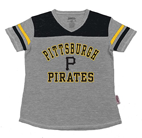 MLB Pittsburgh Pirates Girl's V-Neck Jersey Top, Grey, Medium