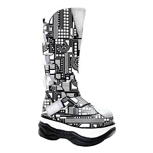 Demonia Neptune-309UV - UV-reaktive Cyber Gothic Plateau Stiefel Schuhe 36-45