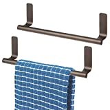 "mDesign Decorative Metal Kitchen Self-Adhesive, Wall Mount Towel Bar - Storage and Display Rack for Hand, Dish and Tea Towels - Stick on Inside or Outside of Doors, 9"" Wide"