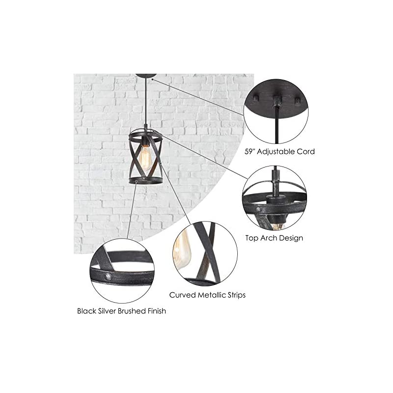 Optimant Lighting Modern Industrial Pendant Lighting, Black Cage Hanging Light Fixture with Silver Brushed Finish for…