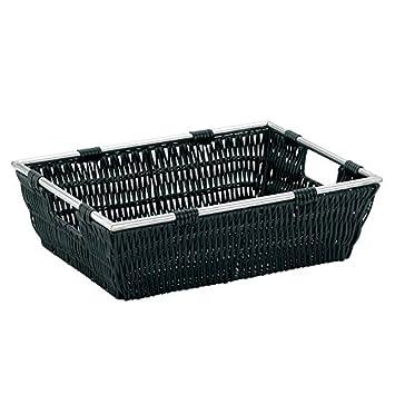 kela Korb Noblesse 26x16x7cm aus Kunststoffgeflecht in schwarz Plastik 26 x 16 x 7 cm