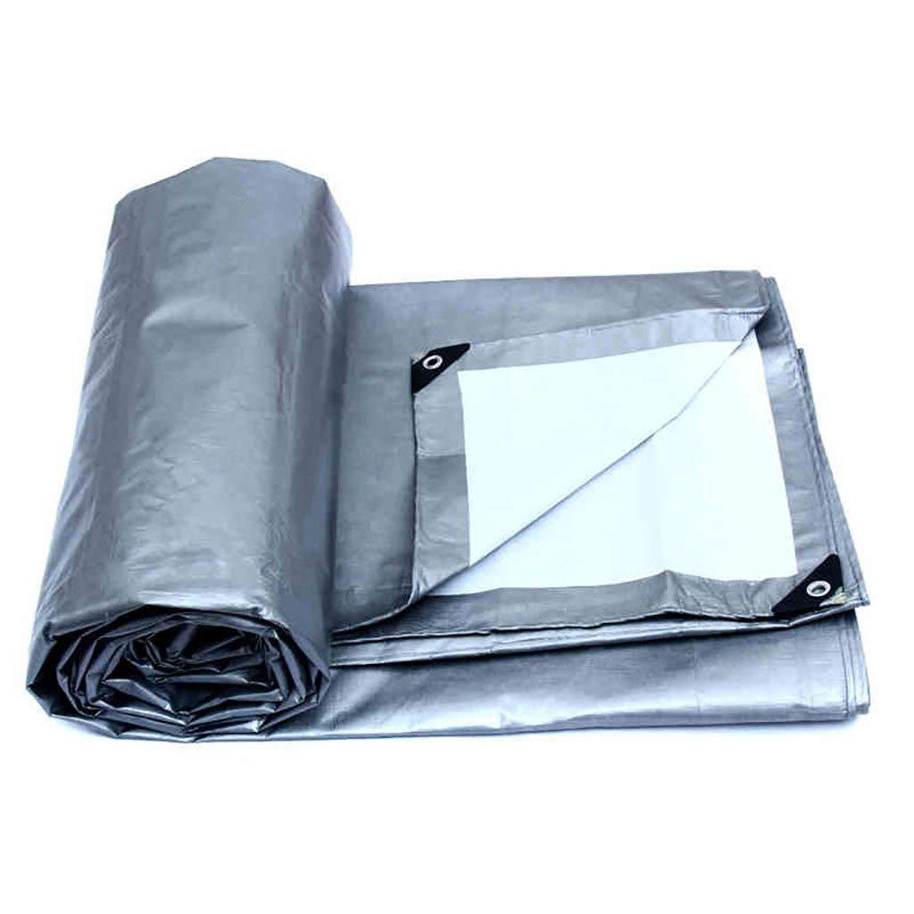 JINSH Zelt im Freien Plane aufgefüllter regendichter wasserdichter Logistik-LKW, der staubdichtes winddichtes Plastikgewebe Hochtemperatur-Anti- Altern, Silber + Weiß aufbaut